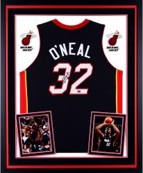 Shaquille O'Neal Miami Heat Autographed Deluxe Framed Black Jersey