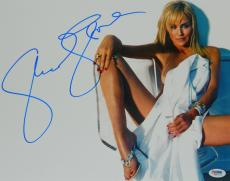 Sharon Stone Signed Sexy Pose In White Sheet 11x14 Photo