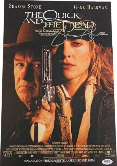 Sharon Stone signed The Quick And The Dead 11x17 Movie Poster- PSA Hologram (entertainment/movie memorabilia)