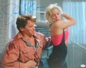 Sharon Stone Signed Total Recall Elbowing Arnold Schwarzenegger 16x20 Photo