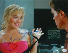 Sharon Stone Signed Total Recall Hands Up With Arnold Schwarzenegger 11x14 Photo