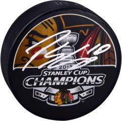 Patrick Sharp Chicago Blackhawks 2013 Stanley Cup Autographed Hockey Puck - Mounted Memories