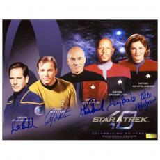 Shatner, Stewart, Bakula, Brooks and Mulgrew Autographed Star Trek Captains Cast Signed Photo Horizontal: 11x14