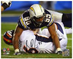 Shaun Phillips San Diego Chargers Autographed 8'' x 10'' Sacking Jay Cutler Photograph - Mounted Memories
