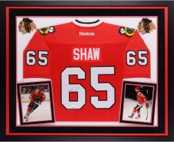 Andrew Shaw Chicago Blackhawks Autographed Deluxe Framed Reebok Premier Red Jersey