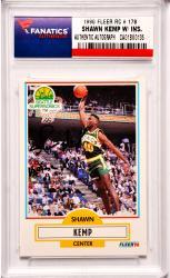 Shawn Kemp Seattle Supersonics Autographed 1990 Fleer Rookie #178 Card with Rain Man Inscription