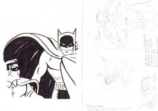 Sheldon Shelly Moldoff Batman & Robin Sketch With Batman & Joker Comic Drawing