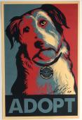 Shepard Fairey signed adopt a pet print 11x17 art autographed psa dna coa