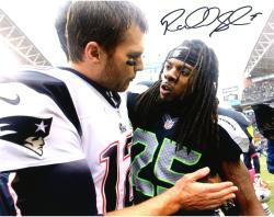 "Richard Sherman Seattle Seahawks Autographed 8"" x 10"" with Tom Brady Photograph"