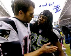 "Richard Sherman Seattle Seahawks Autographed 16"" x 20"" with Tom Brady Photograph with U Mad Bro Inscription"