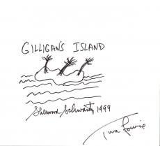 "SHERWOOD SCHWARTZ - WRITER/CREATOR/PRODUCER and TINA LOUISE as GINGER on ""GILLIGAN'S ISLAND"" Both Signed 10.5x7.5 Poster Board - HAND DRAWN by SHERWOOD"