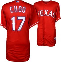 Shin-Soo Choo Texas Rangers Autographed Majestic Red Authentic Jersey