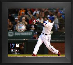 Shin  Soo Choo Texas Rangers Framed 20'' x 24'' Gamebreaker Photograph with Game-Used Ball - Mounted Memories