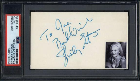 Shirley Eaton Actress Goldfinger Signed Index Card PSA/DNA