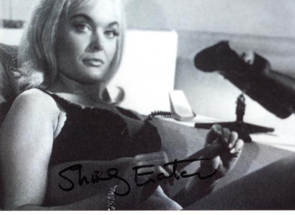 """SHIRLEY EATON as JILL MASTERSON in 1964 Movie """"GOLDFINGER"""" Signed 5x3.5 B/W Photo"""