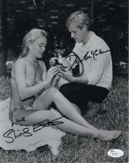 SHIRLEY EATON+DAVID MCCALLUM HAND SIGNED 8x10 PHOTO  AROUND WORLD UNDER SEA  JSA