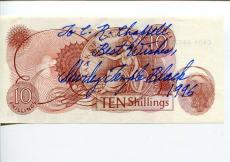 Shirley Temple Fort Apache Little Princess Signed Autograph $10 Shilling Note