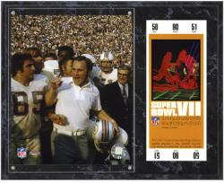 Miami Dolphins Super Bowl VII Don Shula Plaque with Replica Ticket