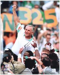 "Don Shula Miami Dolphins Autographed 16"" x 20"" Arm In Air Photograph with 17-0 Inscription"