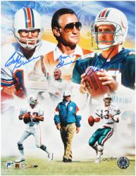 "Don Shula, Bob Griese, & Dan Marino Autographed 11"" x 14"" Photograph-Limited Edition of 513 - Mounted Memories"