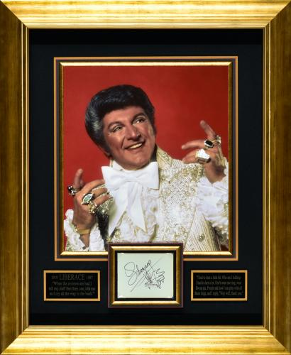 Signature display signed by Liberace Framed 28×34