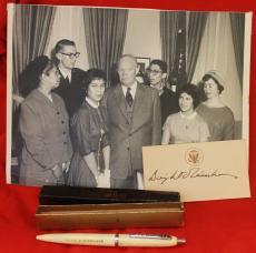 Signed 1960 Dwight D Eisenhower Card White House Photo Presidential Pen Jsa Auto