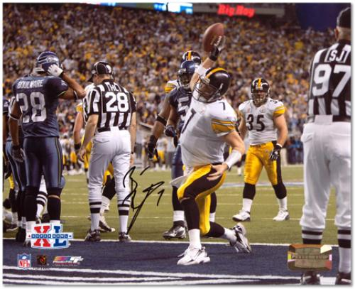 "Ben Roethlisberger Pittsburgh Steelers Super Bowl XL Autographed 8"" x 10"" Spike Shot Photograph"