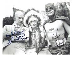 "Signed by ADAM WEST as BRUCE WAYNE/BATMAN and VINCENT PRICE as EGGHEAD in 1960's TV Series ""BATMAN"" VINCENT Passed Away 1993 10X7.75 B/W Photo"
