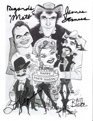 "Signed by AMANDA BLAKE as KITTY (Passed Away 1989), JAMES ARNESS as MATT DILLON (Passed Away 2011) and BURT REYNOLDS as QUINT in ""GUNSMOKE"" 8x10 B/W Photo"