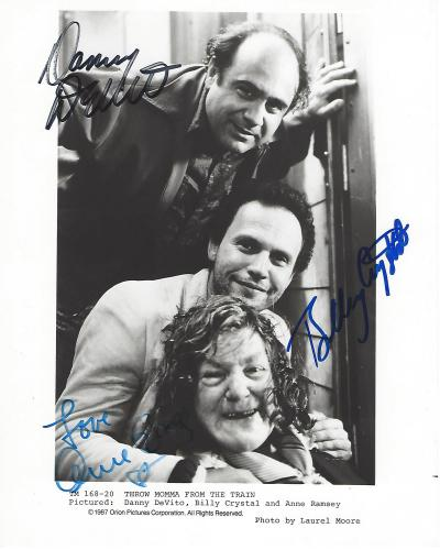 """Signed by BILLY CRYSTAL as LARRY, DANNY DEVITO as OWEN, and ANNE RAMSEY as MOMMA in 1987 Movie """"THROW MOMMA from the TRAIN"""" (ANNE Passed Away 1988) 8x10 B/W Photo"""