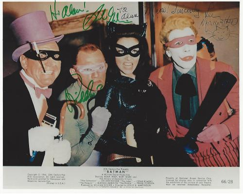 "Signed by LEE MERIWETHER as 'CATWOMAN' and FRANK GORSHIN as 'RIDDLER' from 1966 Movie ""BATMAN"" Inscribed to a Fan (Frank Passed Away 2005) 10x8 Color Photo"