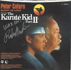 """Signed by RALPH MACCHIO as DANIEL and PAT MORITA as MR. KESUKE MYAGI in 1986 Movie """"THE KARATE KID PART 2"""" RECORD COVER and RECORD is Inside"""