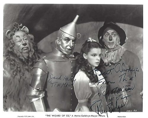 "Signed by RAY BOLGER as HUNK/SCARECROW and JACK HALEY as HICKORY/TIN MAN in ""THE WIZARD of OZ"" RAY passed away in 1987 and JACK 1979) 10x8 B/W Photo"