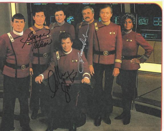 "Signed by WILLIAM SHATNER as CAPT. KIRK, JAMES DOOHAN as SCOTTY, and GEORGE TAKEI as SULU  in TV Series ""STAR TREK"" (JAMES Passed Away 2005) 11x8.5 Color Paper Thin"