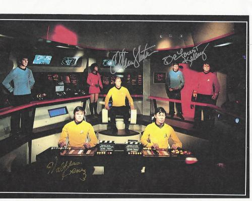 "Signed by WILLIAM SHATNER as CAPT. KIRK, WALTER KOENING as CHEKOV, and DEFOREST KELLEY as DR. MCCOY in TV Series ""STAR TREK"" (DEFOREST Passed Away 1999) 11x8.5 Color Paper Thin"