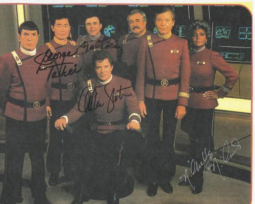 Signed by WILLIAM SHATNER, GEORGE TAKEI, NICHELLE NICHOLS and WALTER KOENIG 11x8.5 Color Paper Thin