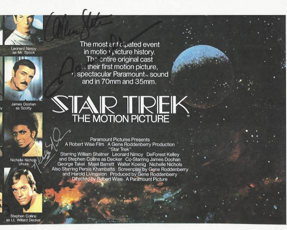 Signed by WILLIAM SHATNER, JAMES DOOHAN, GEORGE TAKEI, NICHELLE NICHOLS and WALTER KOENIG (JAMES Passed Away 2005)  11x8.5 Color Paper Thin