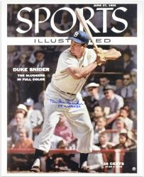 Duke Snider Brooklyn Dodgers Sports Illustrated Cover Autographed 16'' x 20'' Photograph with 1955 WS Champs Inscription - Mounted Memories