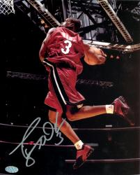 "Dwyane Wade Miami Heat Autographed 8"" x 10"" Dunking Red Jersey Photograph - Mounted Memories"