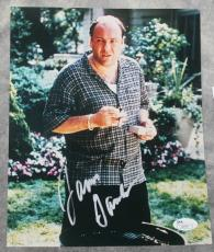 SIGNED JAMES GANDOLFINI 8x10 PHOTO JSA SOPRANOS SMOKING CIGAR LIGHTING GRILL