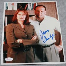 SIGNED JAMES GANDOLFINI 8x10 PHOTO JSA TONY SOPRANOS W/ LORRAINE BRACCO DR MELFI
