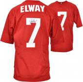 Autographed John Elway Jersey - Red Mesh Custom Mounted Memories