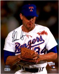 "Nolan Ryan Texas Rangers Autographed 8"" x 10"" Blood Shot Black Ink Photograph"