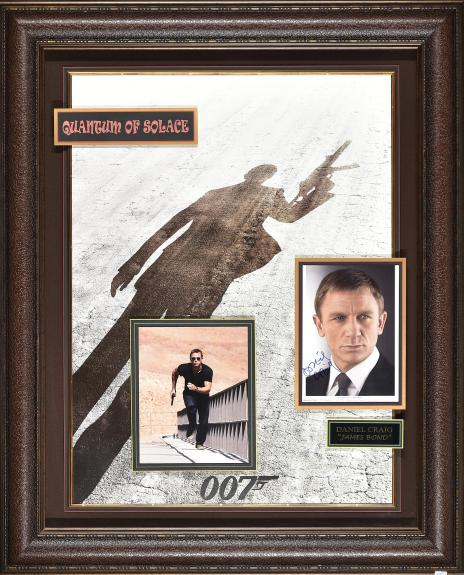 Signed Portrait of Daniel Craig as James Bond in Quantum of Solice Framed 34×42