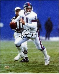 Phil Simms New York Giants Autographed 8'' x 10'' Looking To Pass Photograph - Mounted Memories