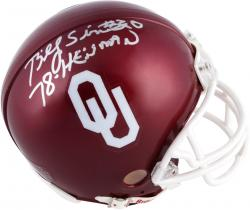Billy Sims Oklahoma Sooners Autographed Riddell Mini Helmet with 1978 Heisman Inscription - Mounted Memories