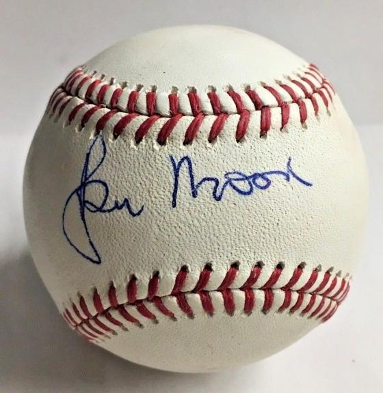 SIR ROGER MOORE SIGNED James Bond 007 BASEBALL BAS BECKETT WITH COA AUTOGRAPH