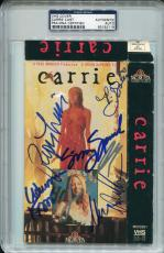 SISSY SPACEK Piper Laurie JOHN TRAVOLTA +4 Signed CARRIE VHS Cover Photo PSA/DNA
