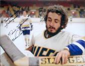 Slap Shot autographed 8x10 photo Dennis Lemieux Charlestown Chiefs Goaltender Yvone Barrette Image #SC3 inscribed Trade me Right Fu...ing Now
