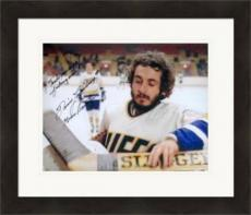 Slap Shot autographed 8x10 photo Dennis Lemieux Charlestown Chiefs Goaltender Yvone Barrette SC3 inscribed Trade me Right Fu...ing Now Matted & Framed